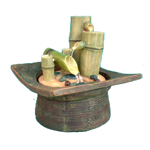 Bamboo Tabletop Fountain; Item No:90402; Size:15*15*15.5cm; The Tabletop  Fountain Is Made By Quality Poly Resin And Designed As Laughing Buddha With  Ball.